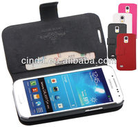 Genuine Real Leather Case Flip Cover Card Slot Wallet for Samsung Galaxy S4 Mini i9190