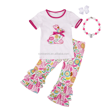New products wholesale children's boutique clothing short sleeve baby girls outfit