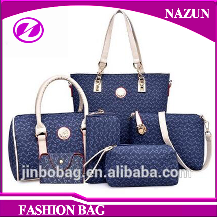 OEM Buying French Cheap PU 6pcs in 1 Setbag Handbags Presented Massenger Bags Purses