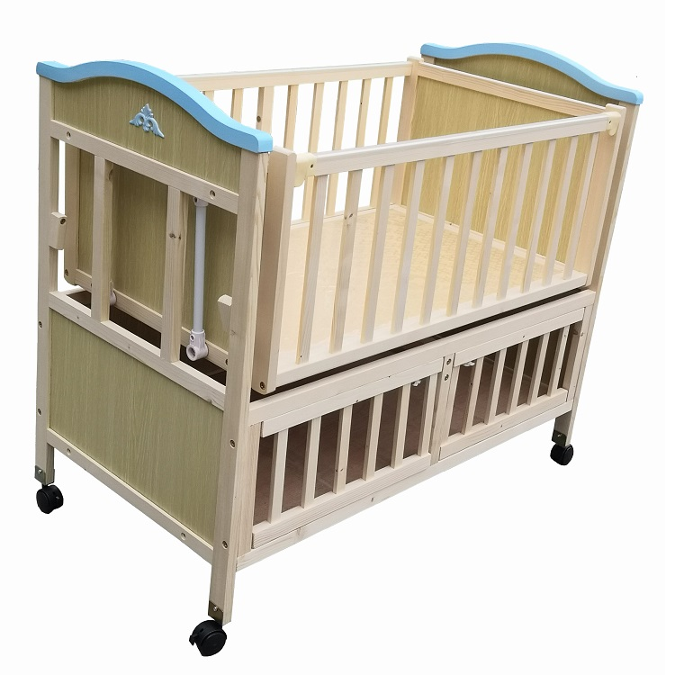 Eco-friendly Nature Pine Wood Electrical Baby Swing Cot For 0-6 Months