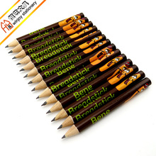 China wholesale wood HB printed logo pencil,short pencils in bulk,full color logo printing mini pencils.