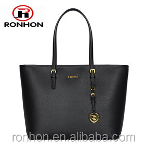 Lady Tote PU Leather Bag with Golden Metal Ornamental