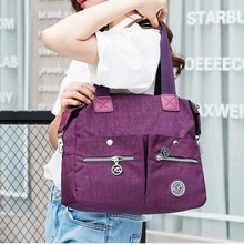 Women Nylon Multi Pockets Tote Handbags Outdoor Shoulder Bags Sports Waterproof Crossbody Bags