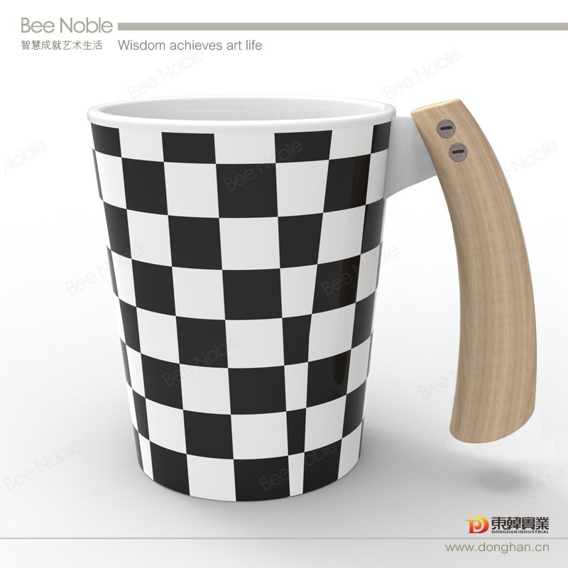 Printed Spectra Wholesale Coffee Cups with wood handle
