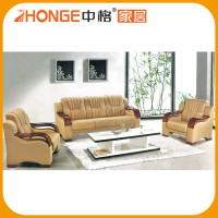 New Style China Office Furniture Wood Trim U Shaped Leather Sofa