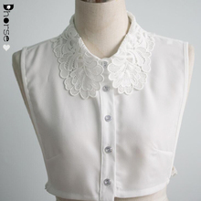 Detachable chiffon shirt collar white lace neck decorative women garment fake collar