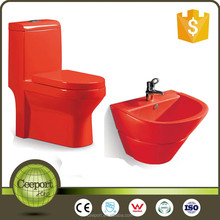 Ceeport Bathroom Ceramic WC Red Toilet Basin Combination