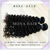 100% raw human hair 8a good quality long lasting fast shipping mongolian deep wave hair weft