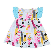 Girl dress 2017 summer new design fashion small girls flower animal print fabric dress