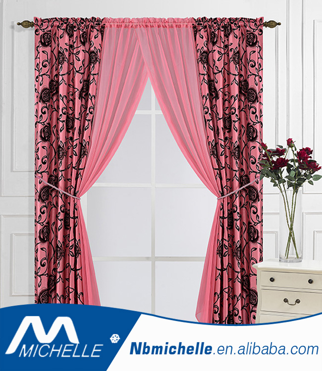 Hot sales flocked faux silk+sheer 6pcs home window fashion curtain