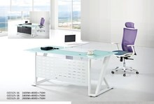 metal frame glass desk top L-Shape office desk/director table Executive Table