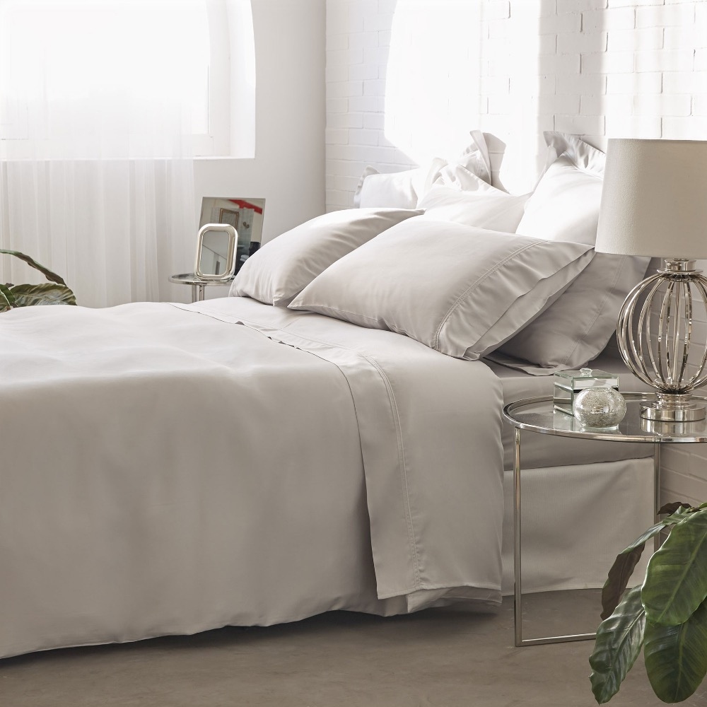 100% cotton 300T light grey sateen percale hotel bedding