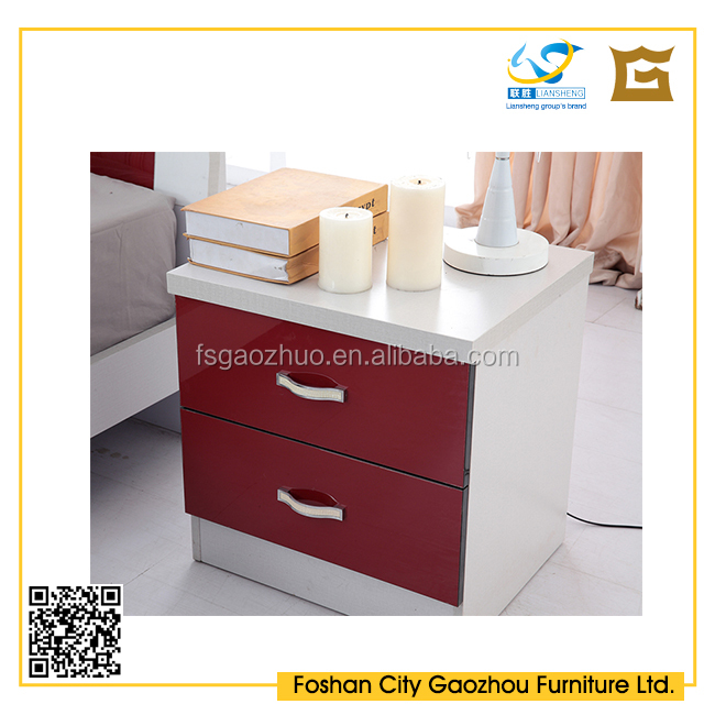 Simple design wooden high gloss night stand/bedside table with 2 drawers for bedroom furniture