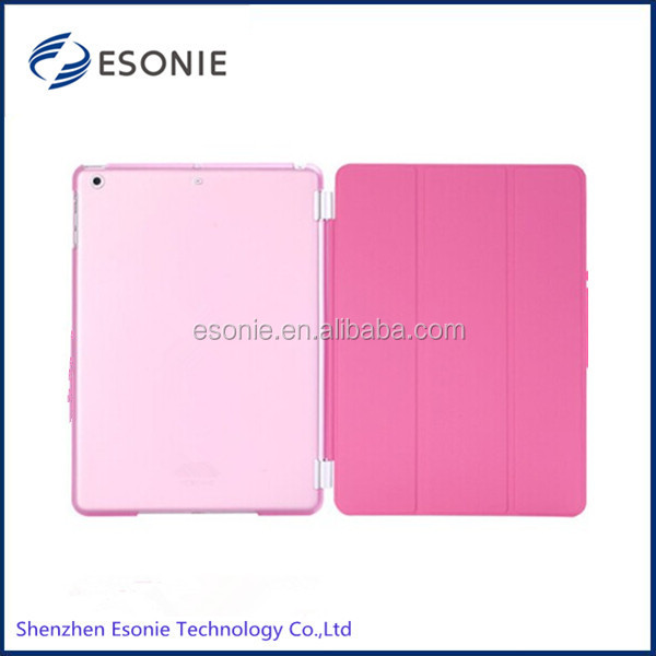 2014 hot sell for ipad air smart cover with transparent back cover case