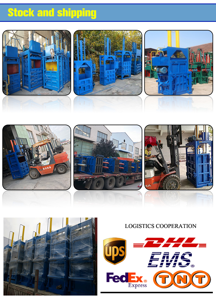Plastic bottle vertical baler machine carton waste tyre baler