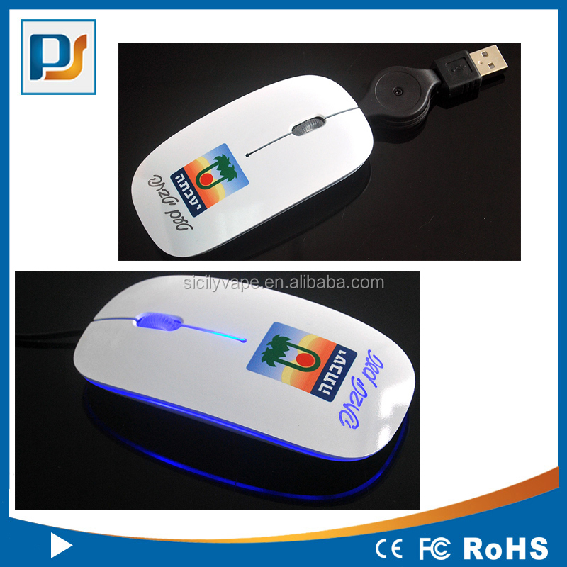 LED light up computer mouse in mini slim design with retractable cable