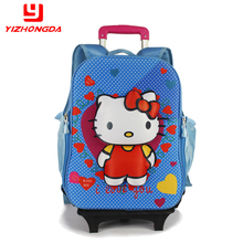 Hot selling ABS rolling wheeled Primary child Hello Kitty trolley school bag