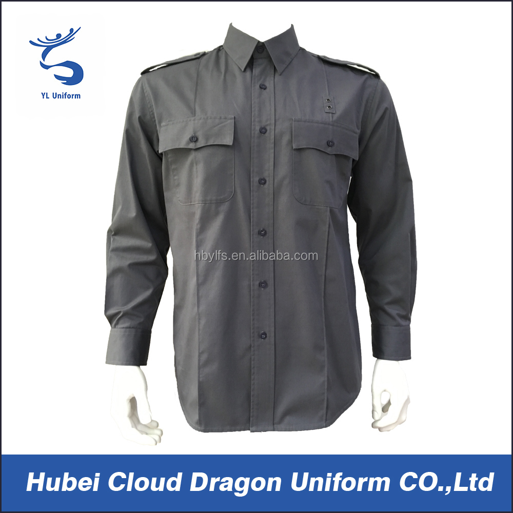 Charcoal grey long sleeve male work uniform police duty shirt