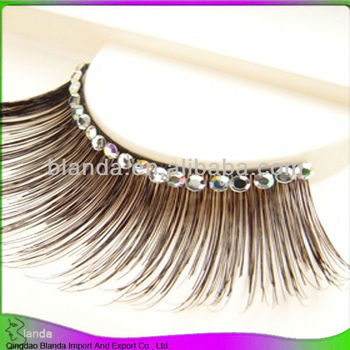 hot sale Synthetic strip eyelash with diamond on low price