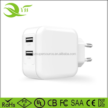 Portable 4.8A 24Watt Output Quad 2 USB Charging Ports Wall Charger US Plug Adapter