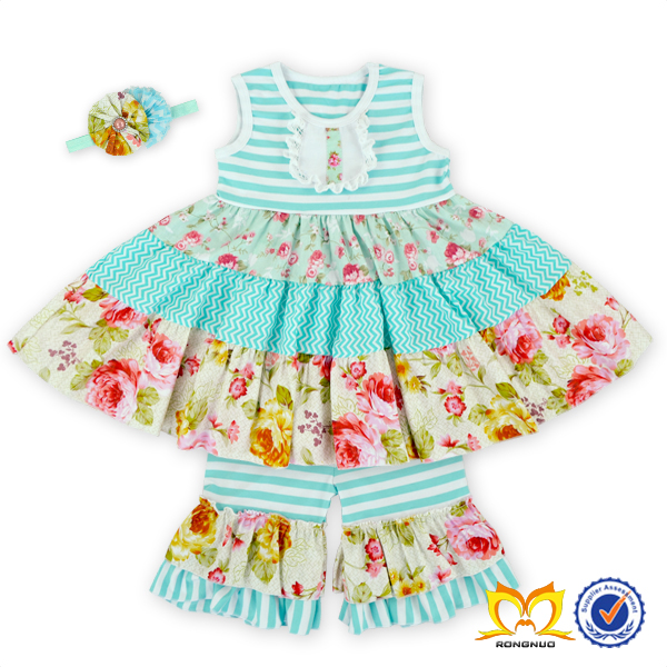 2016 Summer Stripes And Flower Tunic Ruffle Pants Set Giggle Moon Remake Outfits Girls Boutique Childrens Clothes Sets