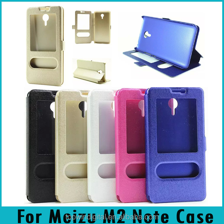 For meizu m2 note Double Window Silk Stand Magnetic Flip PU Leather Case For Meizu M2 note