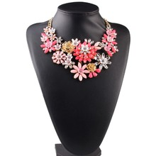 multi color crystal statement flower necklace Hot Trending Products Imitation Jewelry Artifical Flower Necklace DC1655