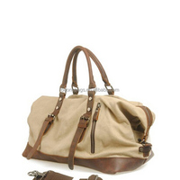 2014 latest luxurious genuine leather canvas luggage bag manufacturer