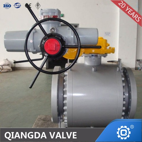 API 6D Trunnion Flange 3PC Ball Valve 900LB Gear Electric Motor Operation