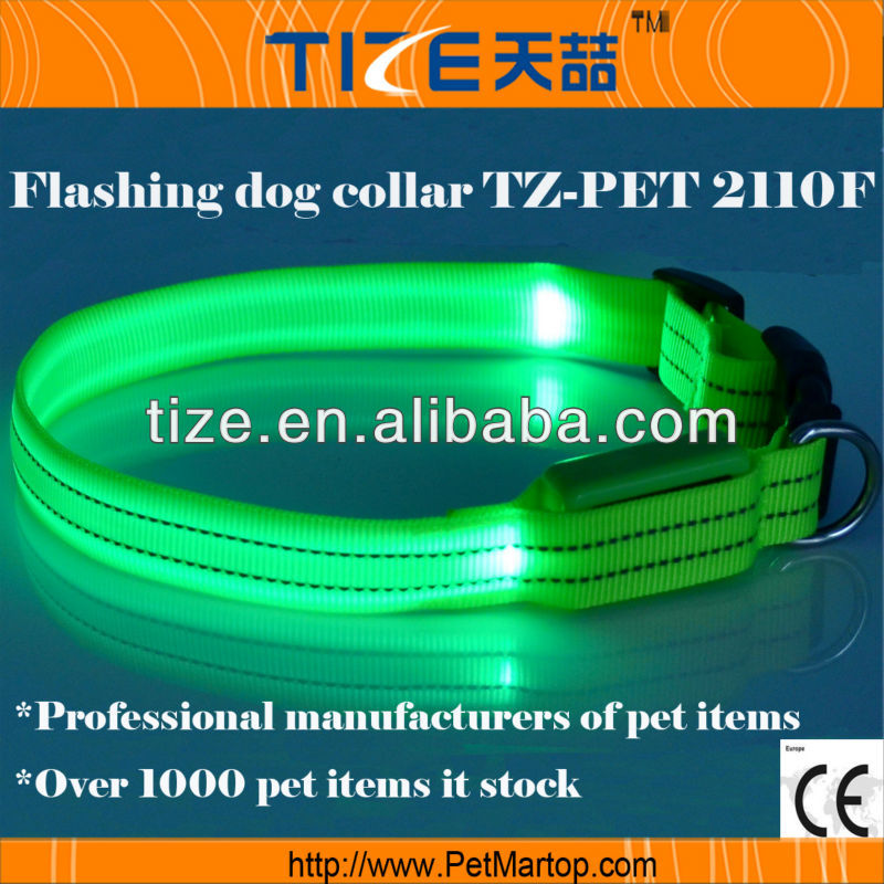 Best selling Cat accessories TZ-PET2110F fluorescent LED dog collars