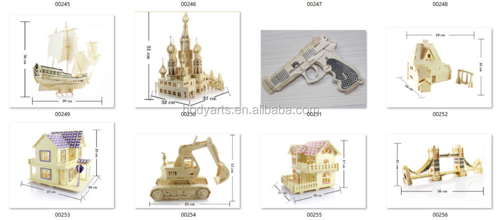 Wholesale High Quality Children Toys of Educational and Practical 3D DIY Wooden Excavator Puzzle