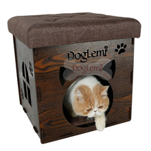 DogLemi New Design Functional Nature Wooden Deluxe Foldable Pet House Cave and Chair
