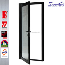 Commercial office entry heat resistant unbreakable glass casement doors designs
