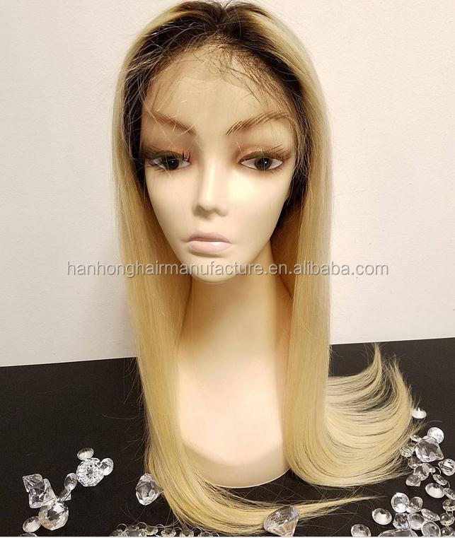 Ombre blonde human hair 1bT613 silky straight alibaba malaysian full lace wig with clips