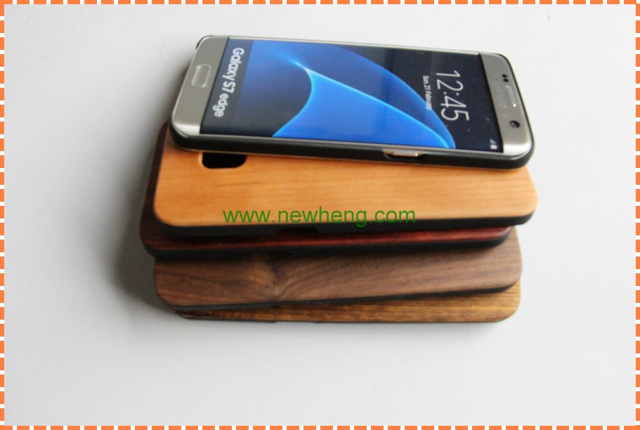 2in1 Top Black PC Dark Brown Walnut Wood Cover Case For Samsung Galaxy S7