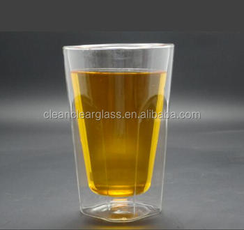 400ml big volume beer mug double wall glass drinking glass