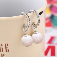 SJ Art Deco Wedding Jewelry SRM69014 Delicate Brass Rhodium Plated Pearl Synthetic Diamond Earring for Bridesmaid