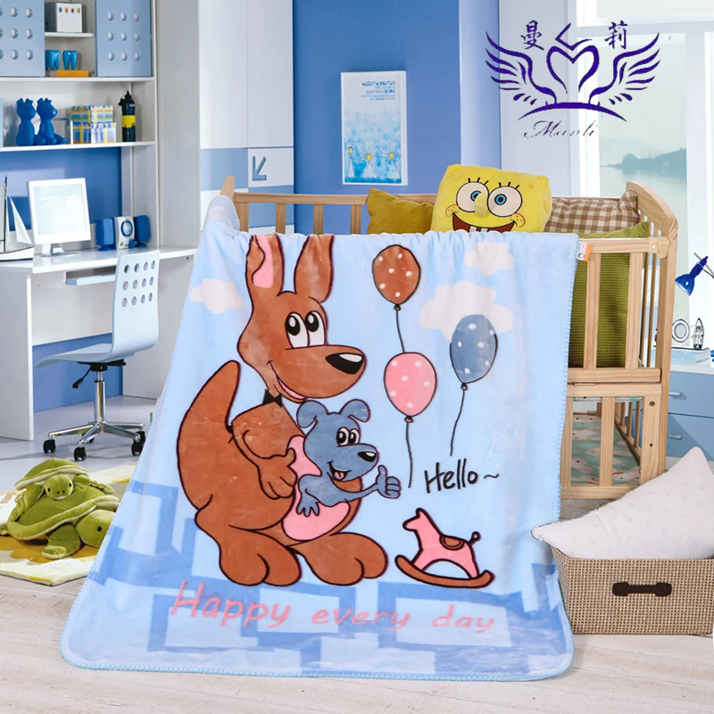 High quality cheap baby print cartoon double layer blanket