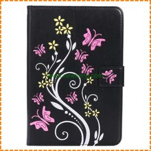 Embossing butterfly flower pattern pu leather flip case for ipad mini 4