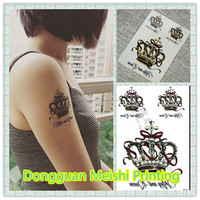 2015 Elegant crown tattoo sticker, temporary tattoo sticker, temporary tattoo