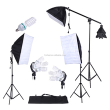 Photography Studio Lighting Kit 45W 135W Bulb Cantilever 3pcs Softbox Tripod Stand with Oxford Bag photographic equipment