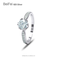 Ladies diamond white gold plated jewelry cheap promise rings 925 silver china cz rings