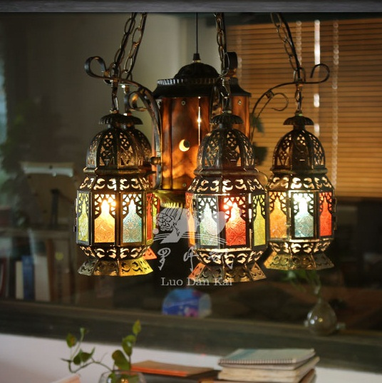 New design Morroccan lantern colored glass iron chandeliers lighting