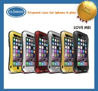 Hot love mei gorilla glass aluminum waterproof case for iphone 6 plus