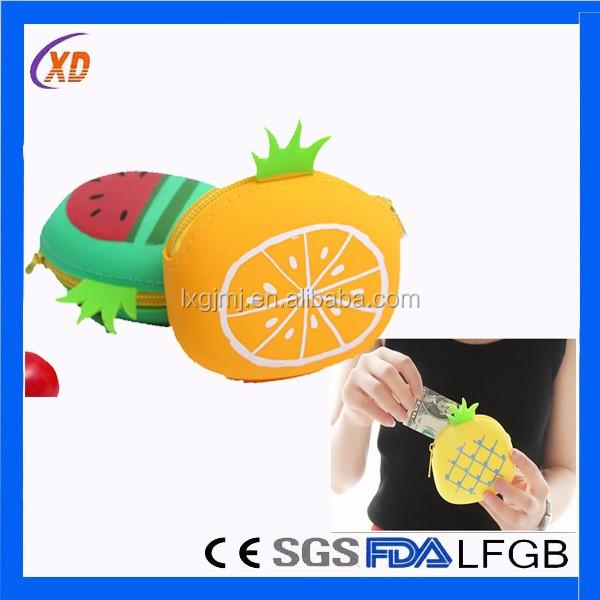Newest design fruit silicone coin purse coin wallet as kid gifts