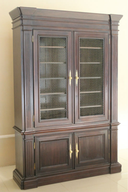 French Furniture - Bookcase Modification, 4 Doors Top with Grill