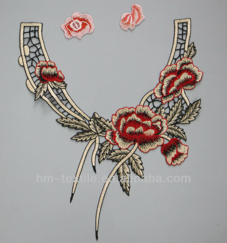 Chinese collar (motif) lace fabric design for pretty garment