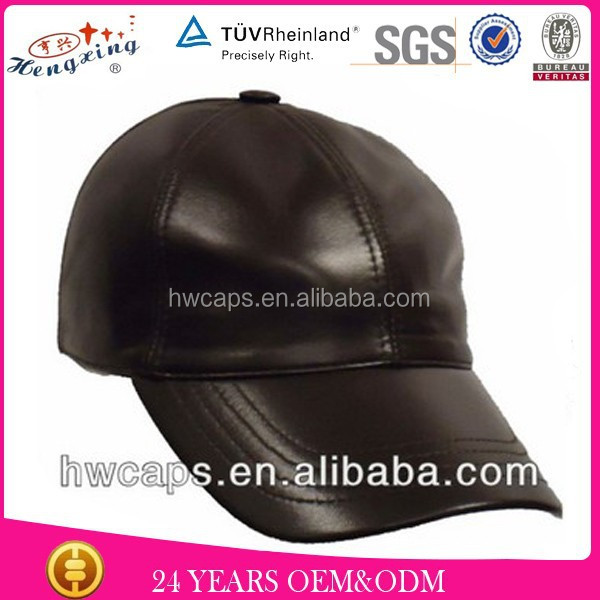 Fashion men black leather black color fitted custom made baseball hat