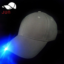 One blue light led built-in gray cotton 6 panels hats caps oem cheap led baseball cap with metal back closure