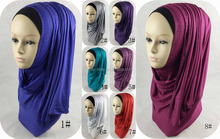 Fashion Muslim Long Scarf Cotton Jersey Crystals Hijab With Rhinestones Shawls Scarves Solid Color Warp QK028